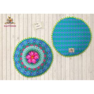 Gevuld Kussen 55cm Diameter Polyester Happiness Nr.8052 Multi