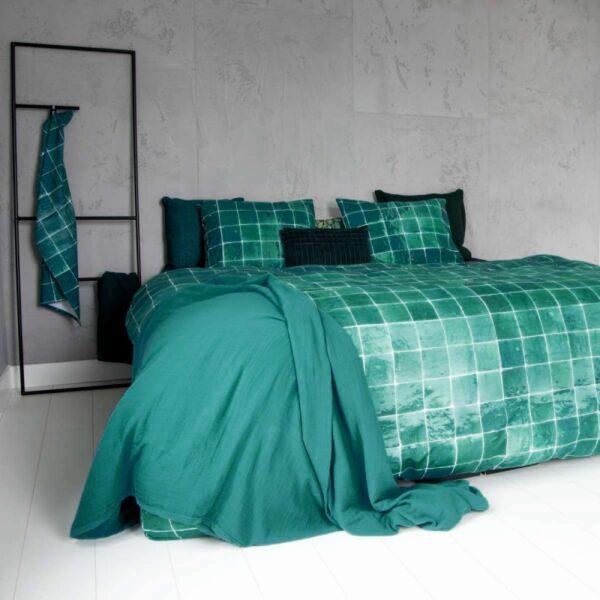 Dekbedovertrek Tiles Emerald Green