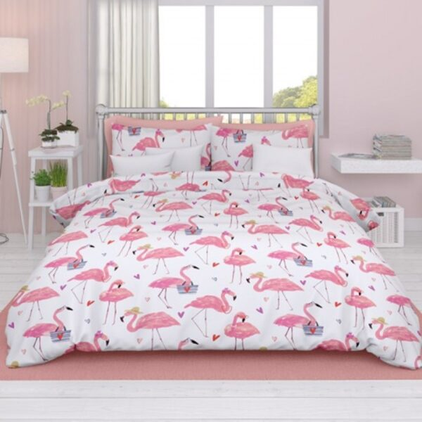 Dekbedovertrek Satin D'or Flamingo